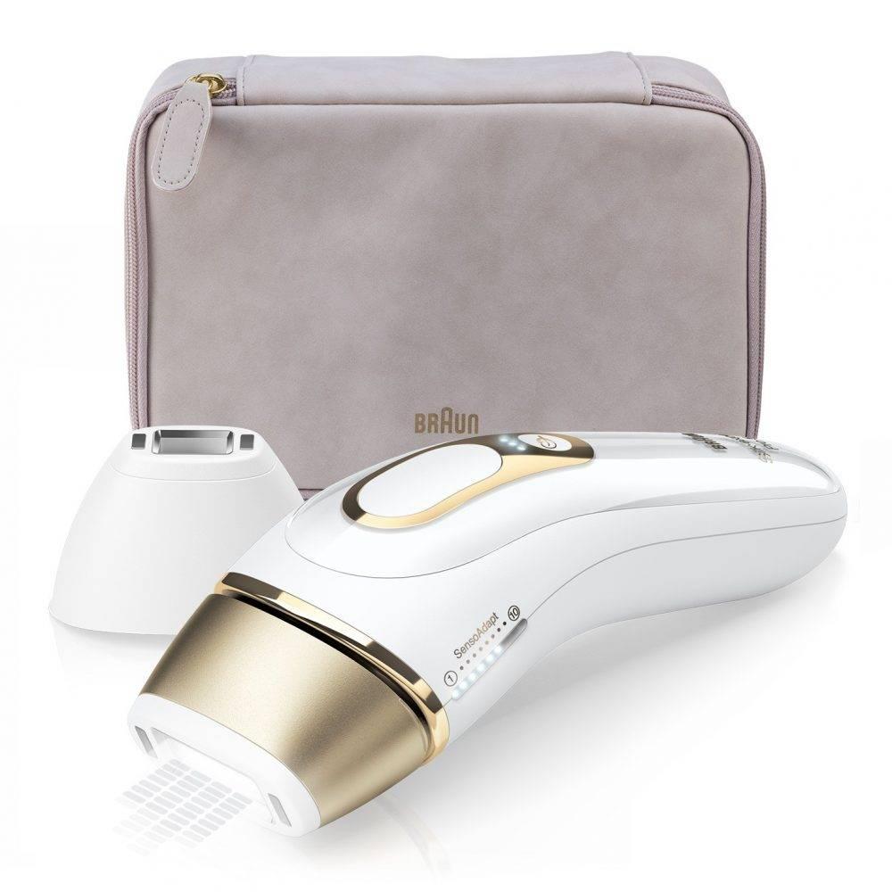 Na obrazku znajduje się produkt BRAUN Silk-expert Pro 5 PL5117 w kolorze biało - złotym.