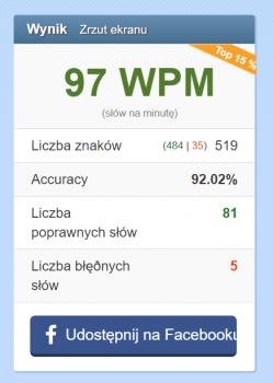 wynik testu szybkości pisania