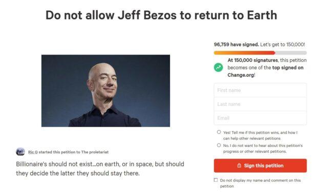 Ponad 10 000 ludzi chce, aby Jeff Bezos nie wrócił na Ziemię