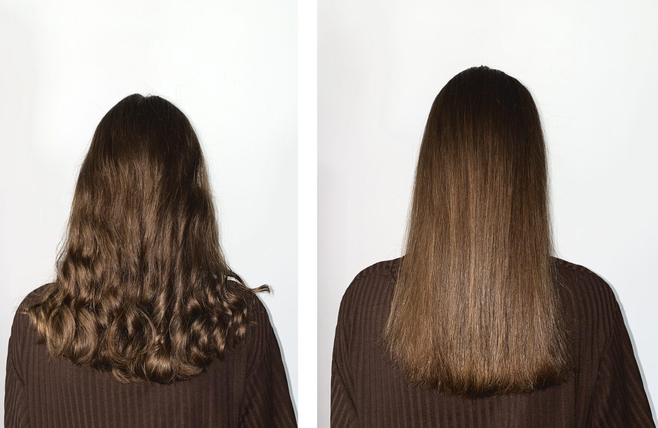 Włosy przed i po użyciu szczotki prostującej.